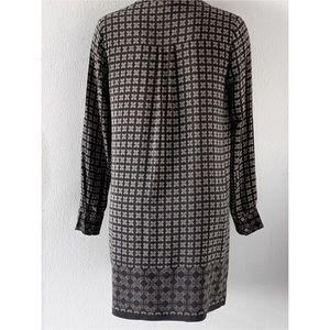 Vince Dresses - VINCE SILK BLACK BORDER PRINT SHIFT DRESS SZ 8